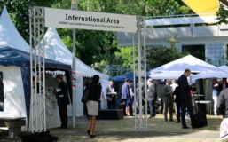 Sign that marks the International Area at the Innovation Day for SMEs, an open-air innovation show annually taking place in Berlin and hosted by the German Federal Ministry for Economic Affairs and Energy.