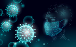 Illustration of a person wearing a mask against viruses